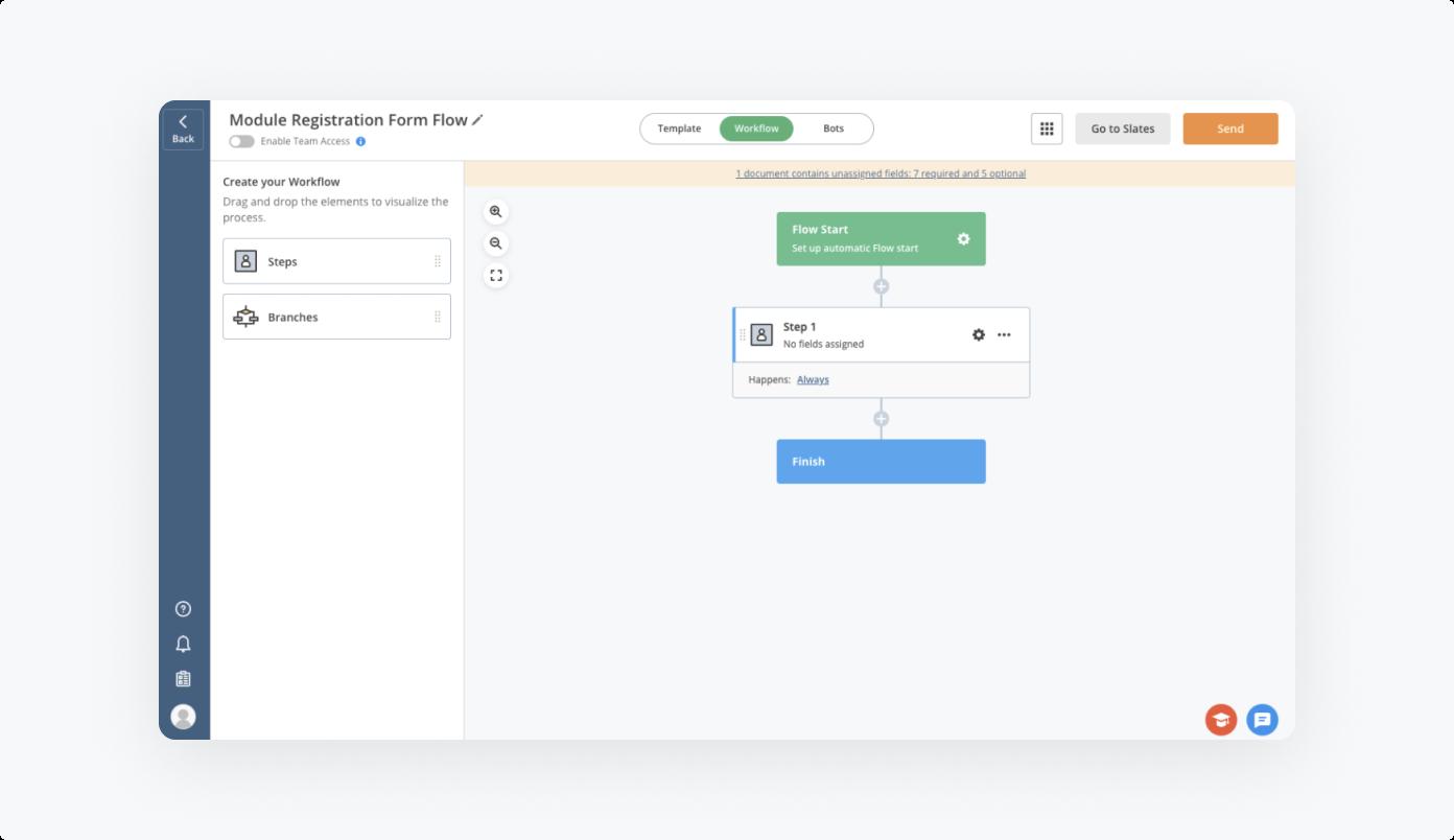 Module Registration Form Flow by airSlate - workflow visualization